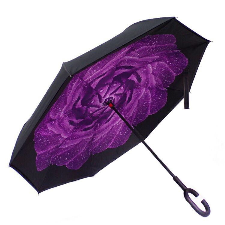 Ветрозащитный зонт обратного сложения UP-brella, АП брелла зонт с ветрозащитой умный зонт, Азалия фиолетовая роса (G87)
