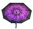 Ветрозащитный зонт обратного сложения UP-brella, АП брелла зонт с ветрозащитой умный зонт, Азалия фиолетовая роса (G87), фото 2