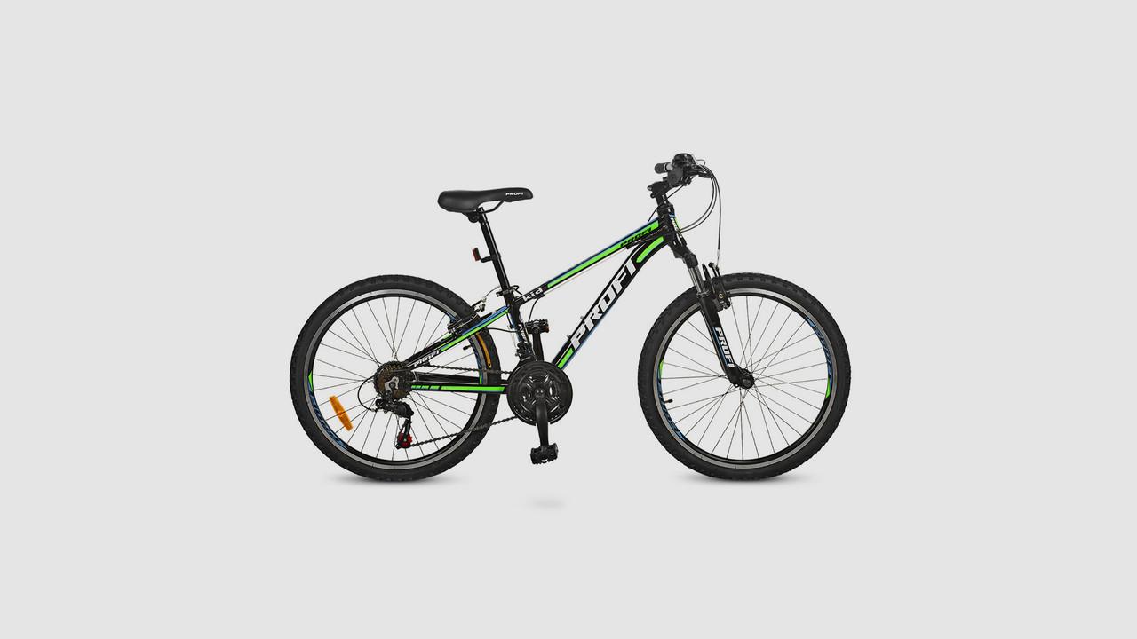 Велосипед PROFI KID A315. 24 дюймовые колеса. 21 SP. Черно-салатового цвета