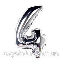Фольгированный шар-цифра 4 серебро 70см Китай