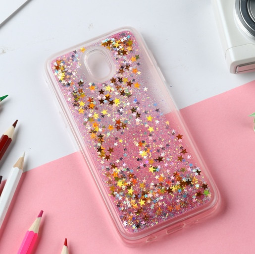 Чехол Glitter для Samsung Galaxy J3 2017 / J330F Бампер Жидкий блеск звезды розовый