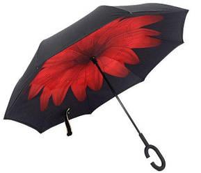 Ветрозащитный зонт обратного сложения UP-brella, АП брелла зонт с ветрозащитой умный зонт Красный цветок