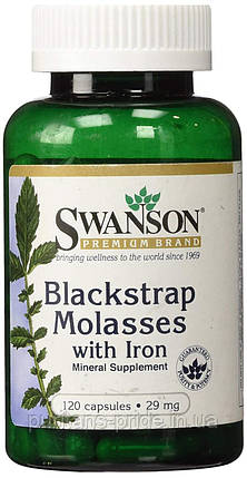 Железо Меласса (черная патока), обогащенная железом Blackstrap Molasses with Iron 29 мг 120 капс, фото 2