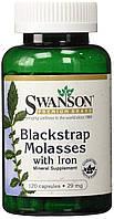 Железо Меласса (черная патока), обогащенная железом Blackstrap Molasses with Iron 29 мг 120 капс