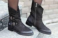 Женские зимние ботинки, полусапожки натуральная кожа черные полушерсть удобные популярные (Код: Ш1243а)