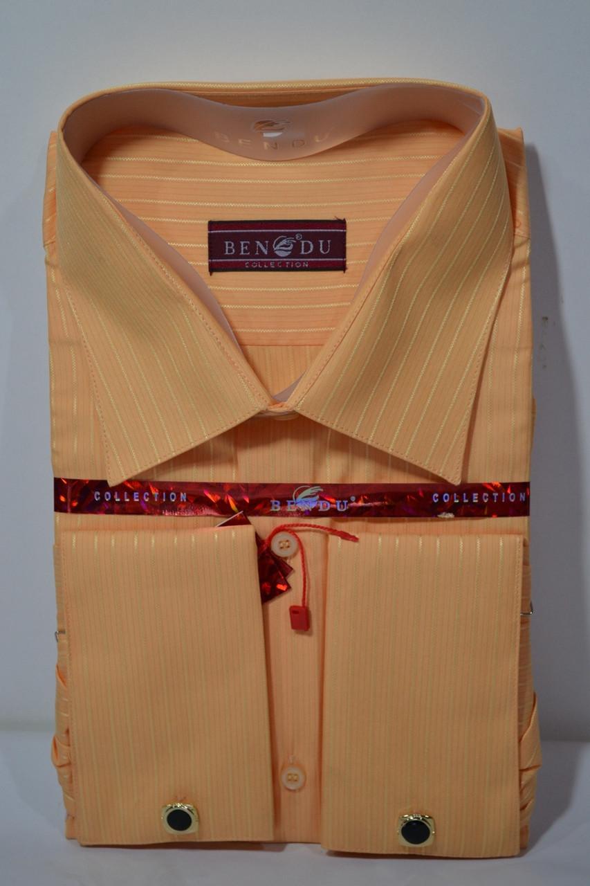 Мужская оранжевая рубашка под запонку  BENDU (размер 45, 46)