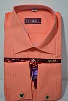 Мужская помаранчевая рубашка под запонку  BENDU (размер 39.40.41.42.43.44.45.46)