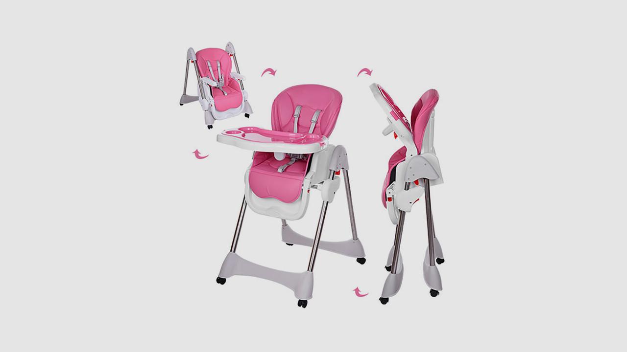 Стульчик для кормления на колесиках с ремнем безопасности. Розовый.