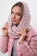 Зимовий рожевий в'язаний снуд / хомут / шарф Fong