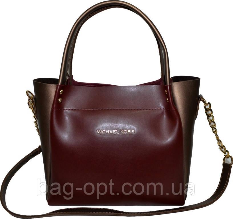 Женская бордовая с бронзовыми вставками сумка Michael Kors (23*26*12)