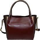 Женская бордовая с бронзовыми вставками сумка Michael Kors (23*26*12) , фото 3
