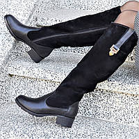 Женские зимние сапоги натуральная кожа, замша черные байка удобные стильные (Код: Ш1250а)