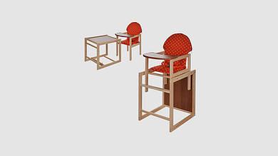 Стульчик для кормления деревянный 2в1 трансформер.Красно-оранжевый горошек.