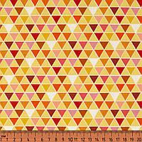 Хлопок. Треугольники, желтый, оранжевый. Абстрактный рисунок. PS-geo-1