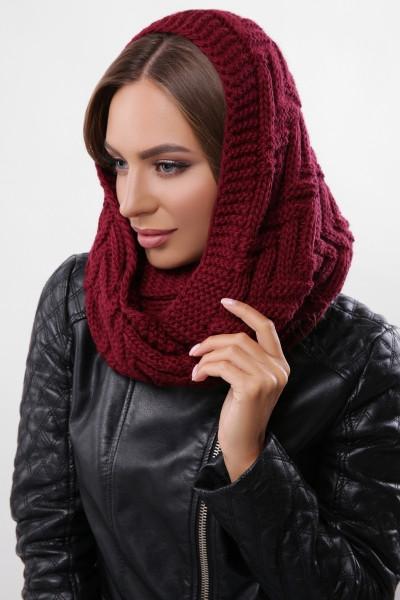 Зимовий бордовий в'язаний снуд / хомут / шарф Fong