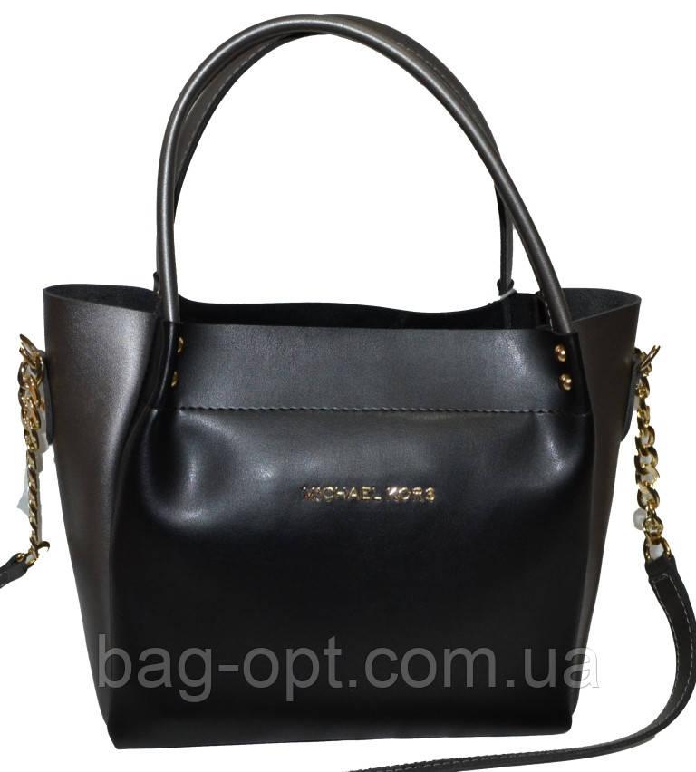 Женская черная с серебряными вставками сумка Michael Kors (23*26*12)
