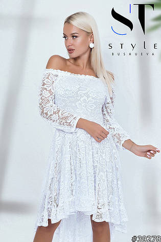 Чарівне вечірнє плаття з розкішного мережива білий розмір універсальний, фото 2