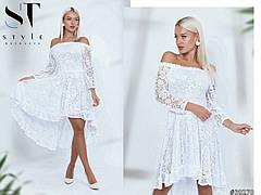 Чарівне вечірнє плаття з розкішного мережива білий розмір універсальний, фото 3