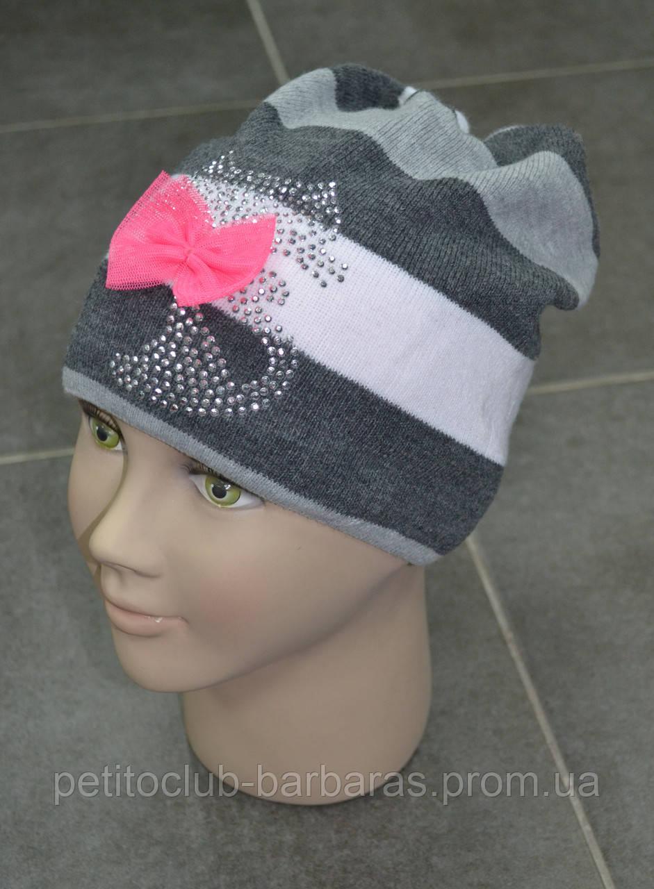 Детская демисезонная шапка в полоску Кошечка (AJS, Польша)