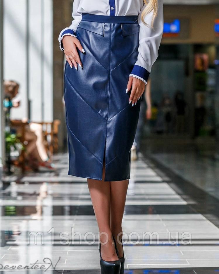 Женская юбка-карандаш из экокожи и костюмной ткани (2291-2290 svt)