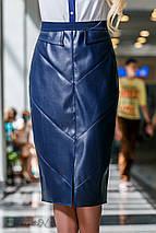 Женская юбка-карандаш из экокожи и костюмной ткани (2291-2290 svt), фото 3