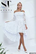 Чарівне вечірнє плаття з розкішного мережива електрик розмір універсальний, фото 2