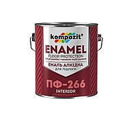 Эмаль для пола Kompozit ПФ-266 Красно-коричневая 0,9 кг