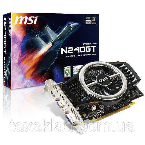 Видеокарта MSI PCI-Ex GeForce GT 240 1024MB GDDR3 (128bit) (550/1580) (DVI, VGA, HDMI) (N240GT-MD1G)