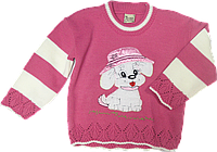"""Детский свитер с аппликацией """"пёсик"""", акрил, Турция, ТМ Ромашка, р. 104 Без застежки, нет, нет, нет, нет, нет, нет, акрил, нет, нет, да, Аппликация, 98, Весна/осень, осенний, Турция, Вязка, U-образный, Малиновый"""