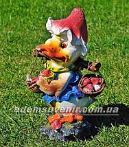 Садовая фигура Утенок с грибами, фото 2