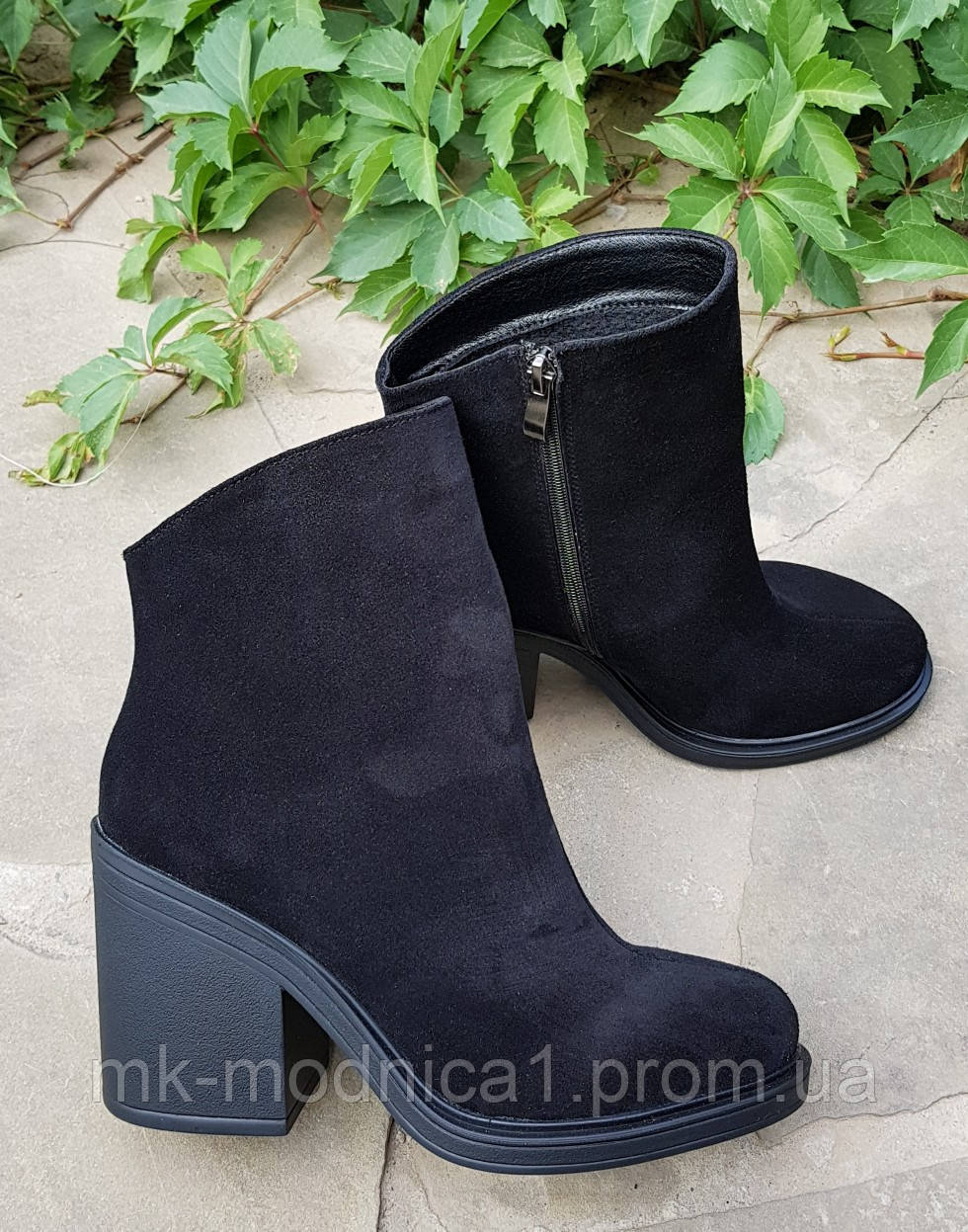 Ботинки Деми черные  замшевые натуральная кожа