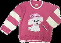 """Детский свитер с аппликацией """"пёсик"""", акрил, Турция, ТМ Ромашка, р. 104 Без застежки, нет, нет, нет, нет, нет, нет, акрил, нет, нет, да, Аппликация, 104, Весна/осень, осенний, Турция, Вязка, U-образный, Малиновый"""
