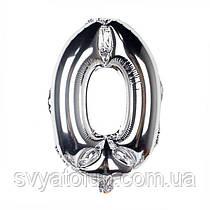 Фольгированный шар-цифра 0 серебро 35см Китай