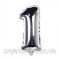 Фольгированный шар-цифра 1 серебро 35 см Китай