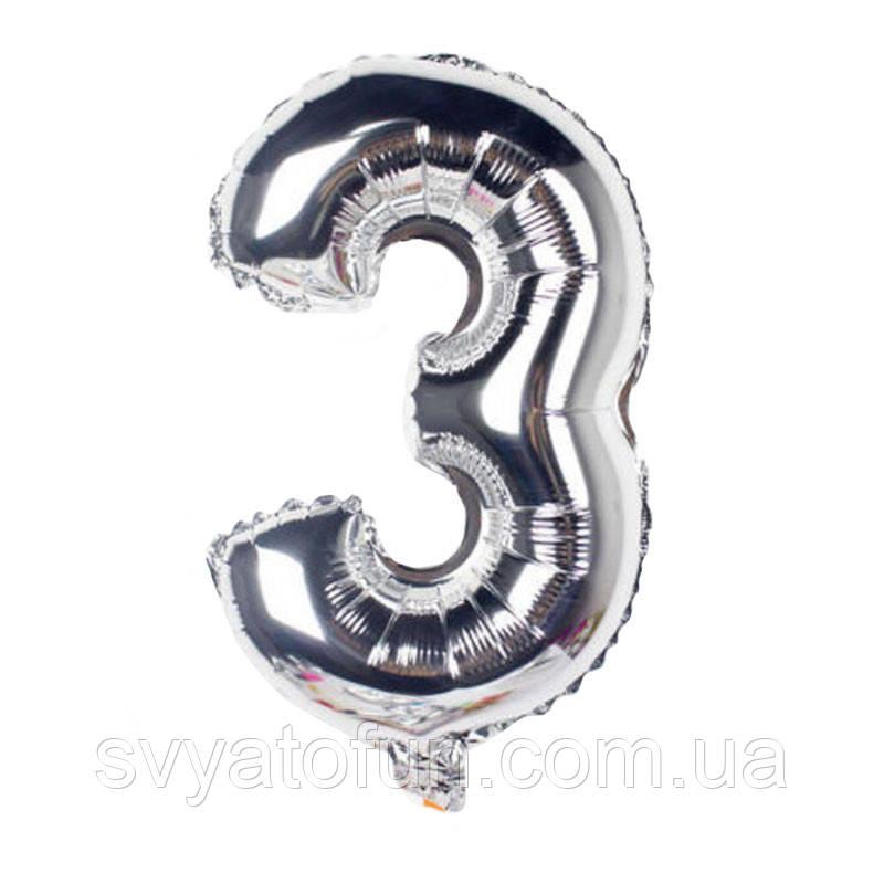 Фольгированный шар-цифра 3 серебро 35 см Китай