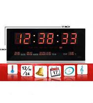 Кімнатні електронні світлодіодні настінні годинники LED NUMBER CLOCK 3615 RED, фото 2
