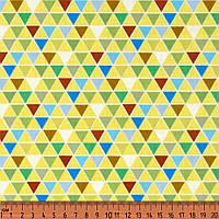 Хлопок. Треугольники, зеленый, голубой, желтый. Абстрактный рисунок. PS-geo-2
