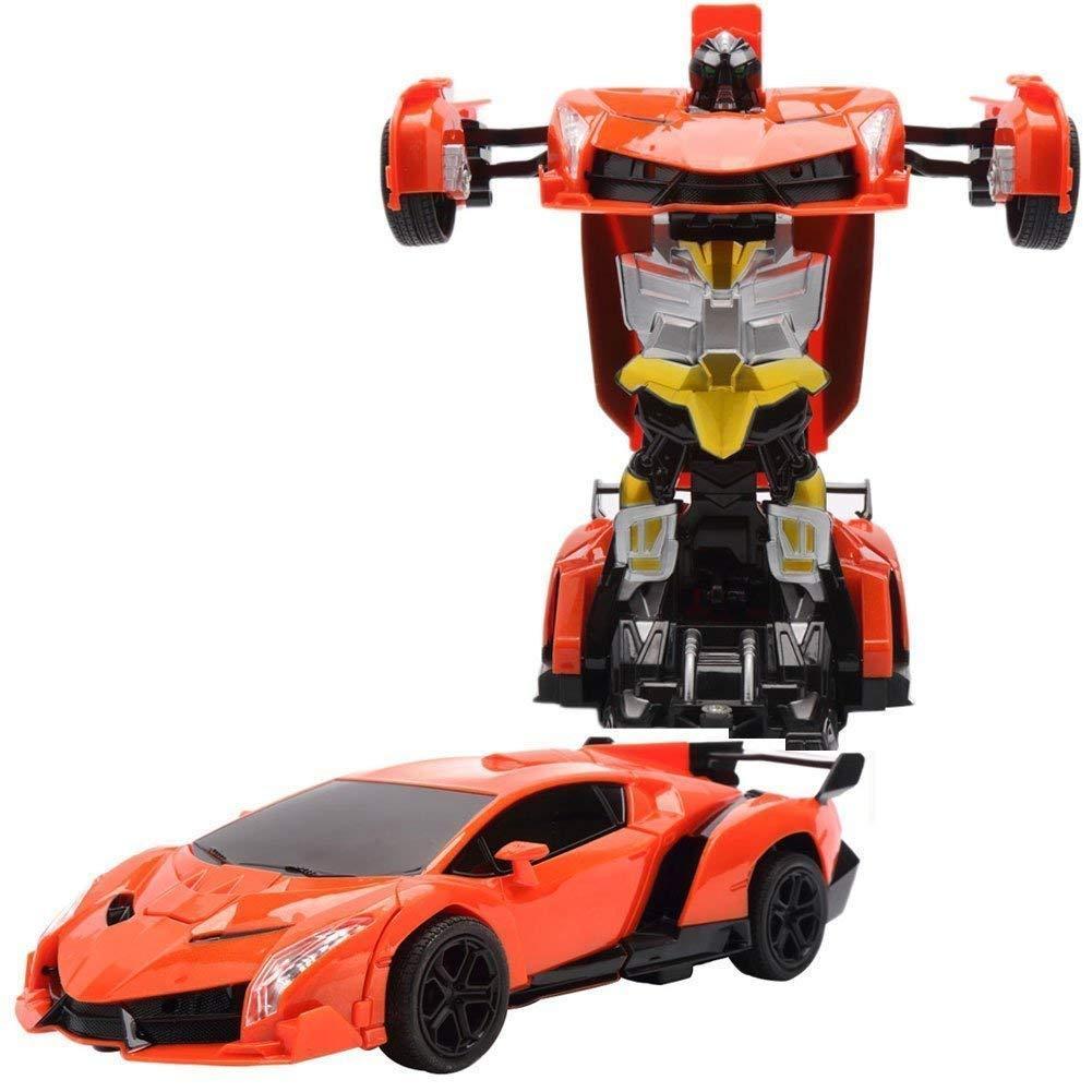 Игрушка машинка трансформер робот на пульте управления автобот orange