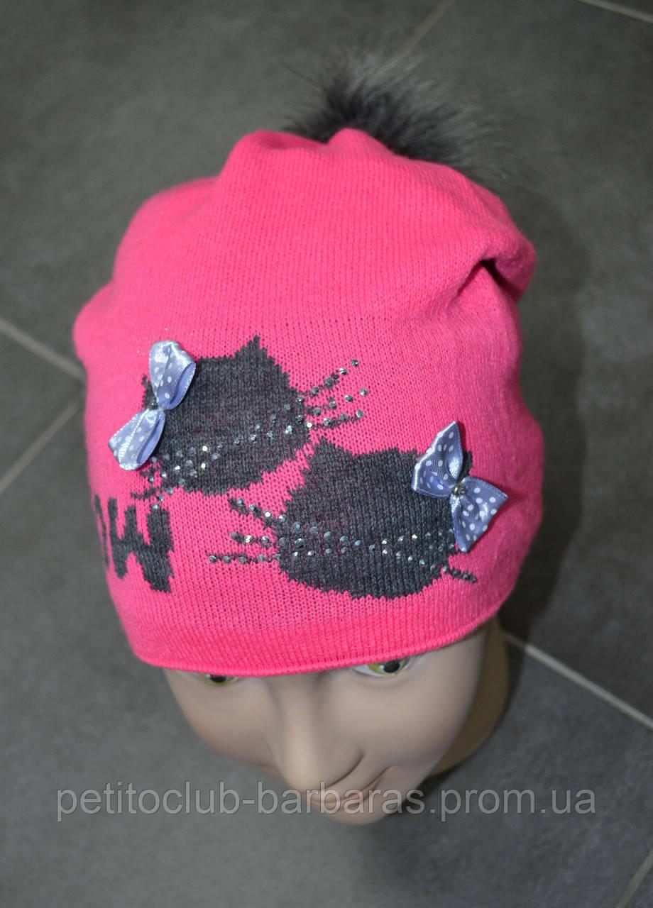 Детская зимняя шапка Мяу! розовая (AJS, Польша)