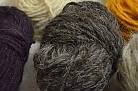 Гушка пряжи  для вязания из натуральной овечьей шерсти. Цвет серый