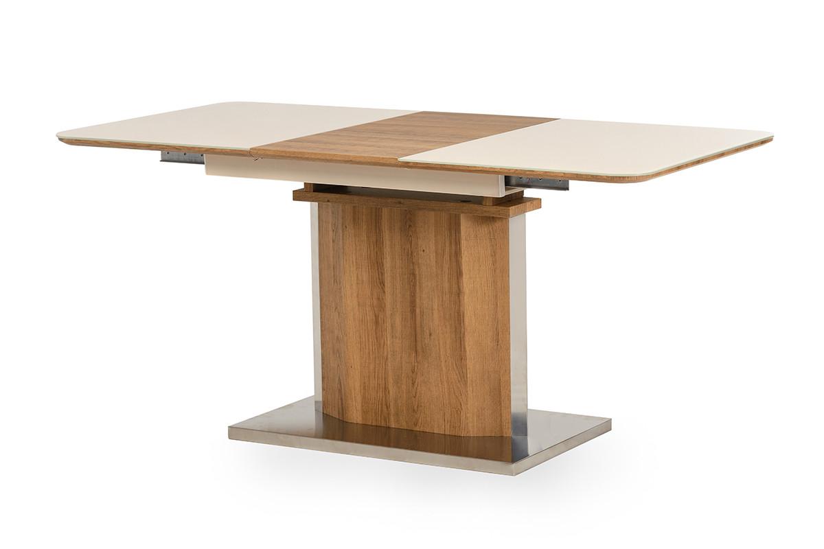 Стол TML-525 бежевый+дуб натуральный. (120-160) -80 см. H-76см.