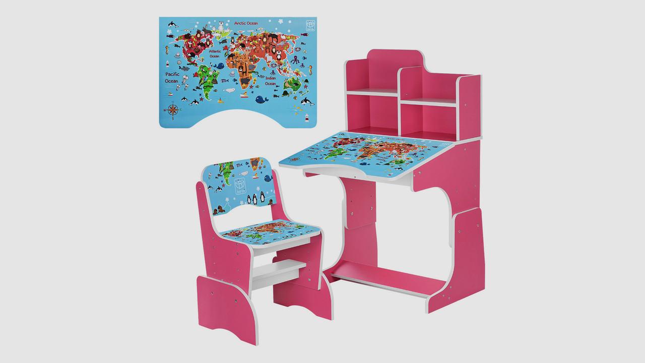 Парта BAMBI регулируется высота. Со стульчиком. Принт география. Малиновая.