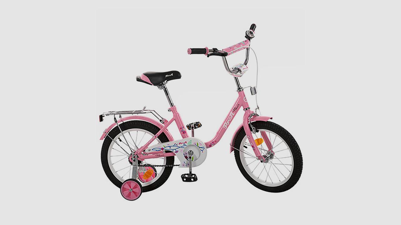 Велосипед детский PROFI FLOWER. 16 дюймовые колеса. Розового цвета
