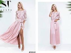 Розкішне коктельне плаття комбінація шовк+сітка пудра розмір 42-44 46-48, фото 2