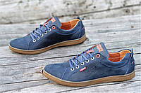 Туфли мокасины мужские Levis реплика стильные натуральная кожа темно синие (Код: Ш1212а)