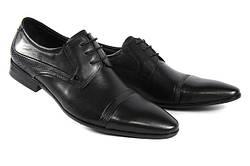Стильные мужские классические кожаные туфли на шнурках  LOUIS ALBERTI 582-09-997  40  черный