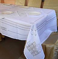 Бела скатерть с салфетками с вышивкой хардангер шелковыми нитками Свадебная
