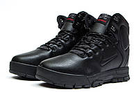 Мужские зимние ботинки на меху в стиле Nike LunRidge, черные. Код товара: KW - 30523