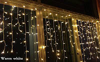 Гирлянда - сталактиты, бахрома, рваная штора 108 Led 2,6х0,6м, прозрачный провод, белый теплый