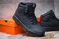 Мужские зимние ботинки на меху в стиле Nike LunRidge, темно-синие. Код товара: KW - 30521